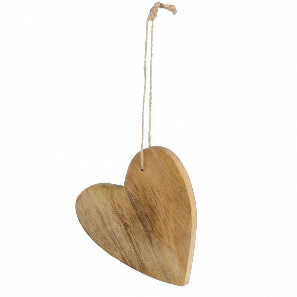 Quot wooden hanging heart ornament natural wax h