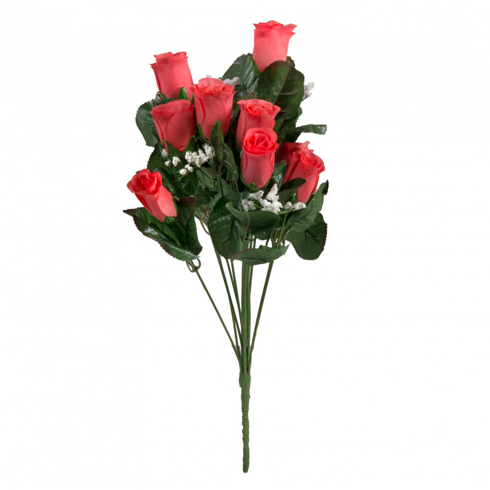18 colorfast lillian rose bud bush coral 14 30308co. Black Bedroom Furniture Sets. Home Design Ideas