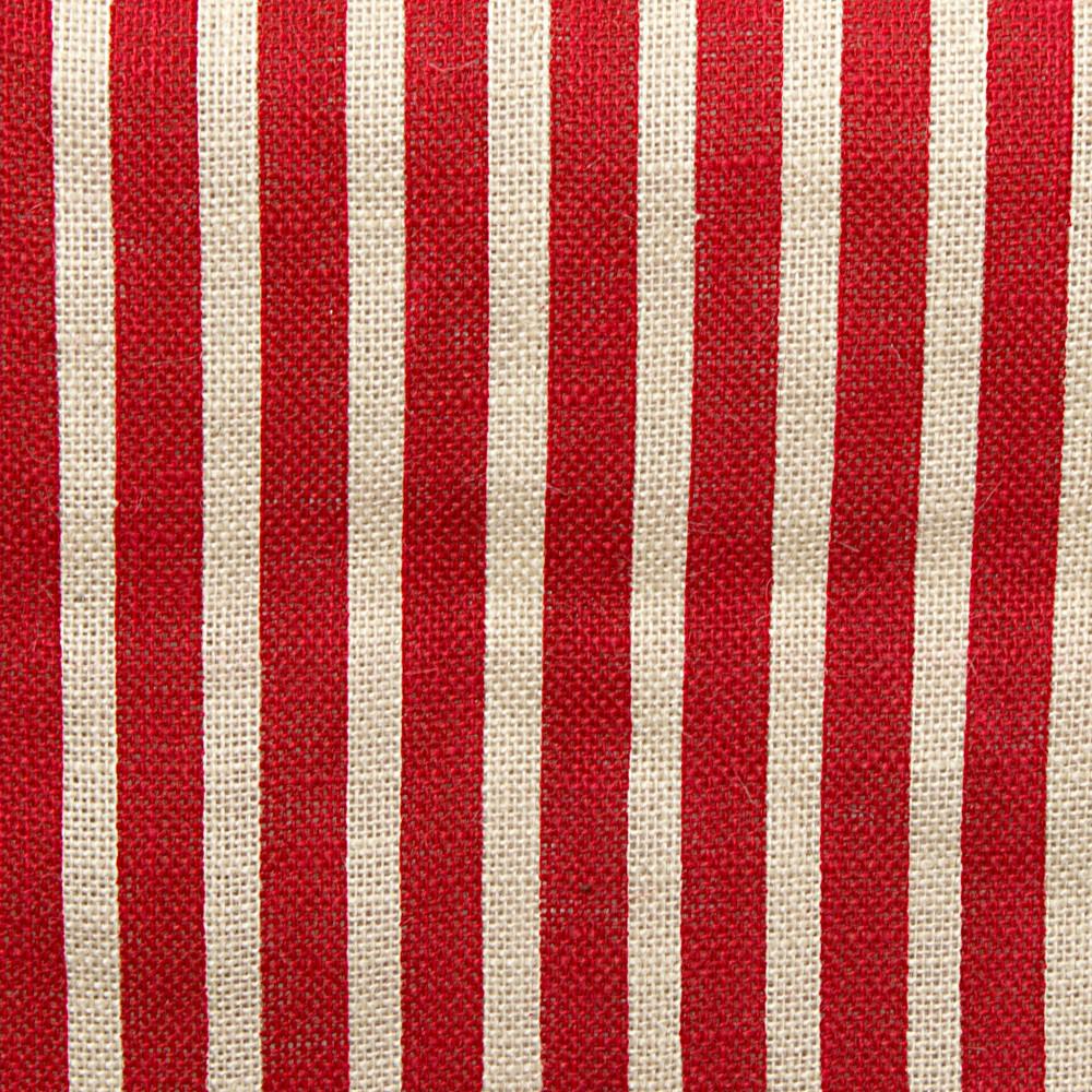 6u0027 Fringe Edge Burlap Table Runner: Red U0026 Off White Stripe