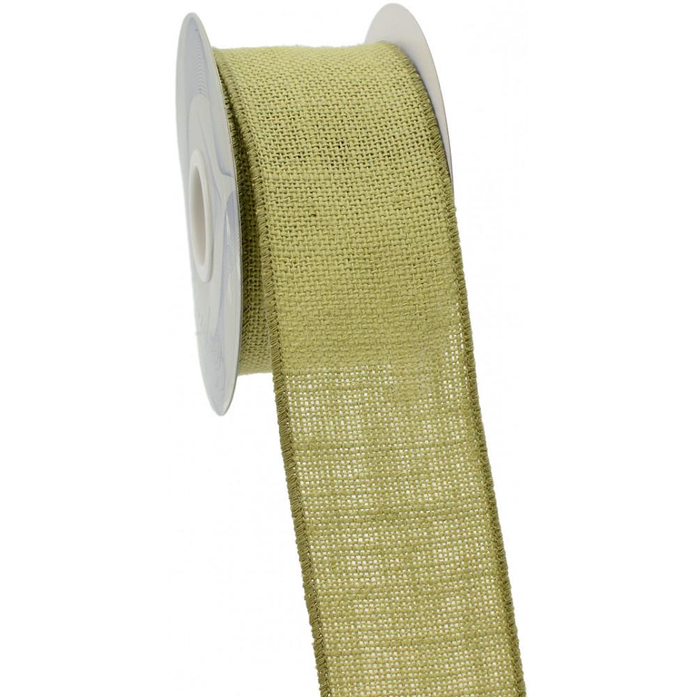 2 5 wired edge burlap ribbon light green 10 yards for Green burlap ribbon
