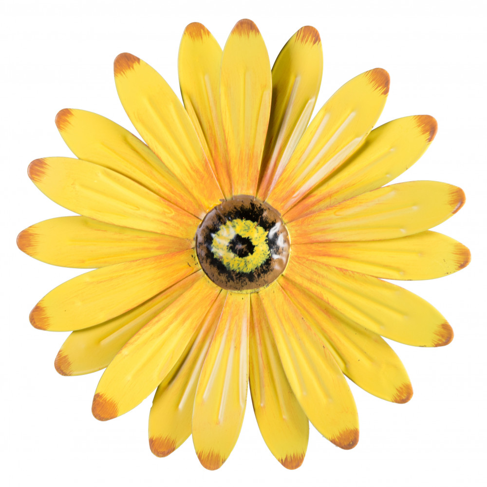 "Metal Flowers Wall Decor 10"" metal flower wall decor: yellow [osw101962-ylw] - craftoutlet"