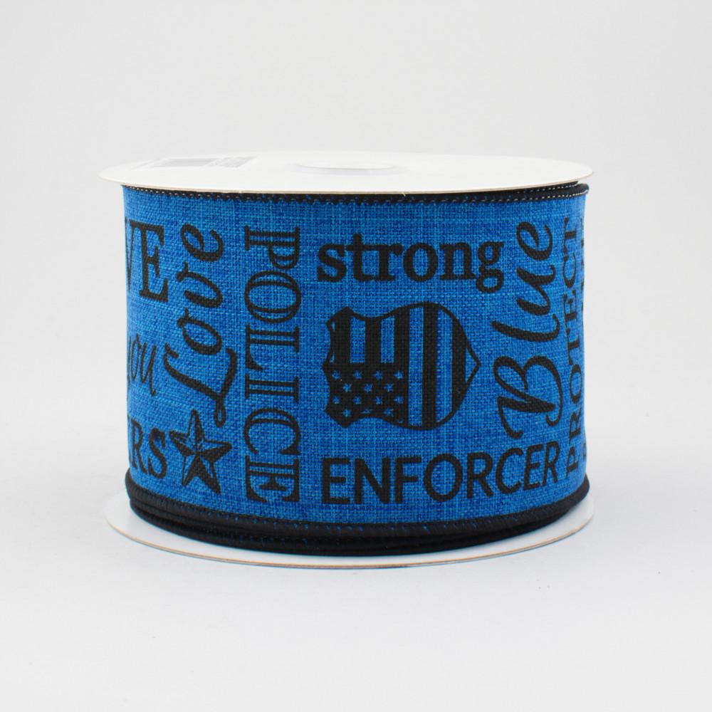 25 police support ribbon black royal blue 10 yards