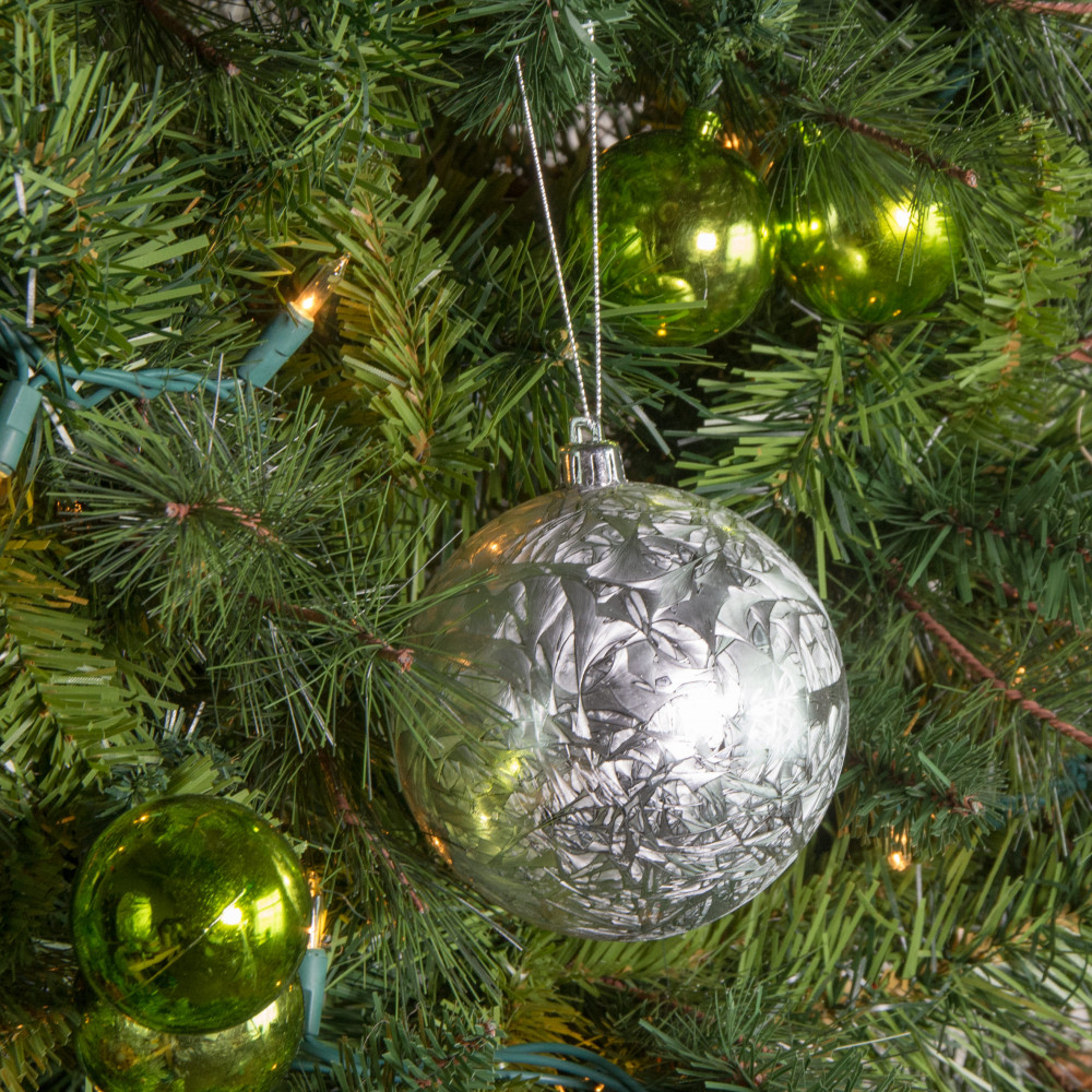 100MM Round Feather Ball Ornament: Silver [XH101826] - CraftOutlet.com