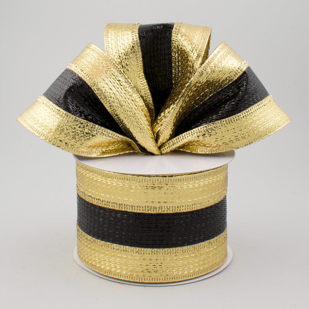 2 5 metallic stripe ribbon black gold 10 yards rg01537y5