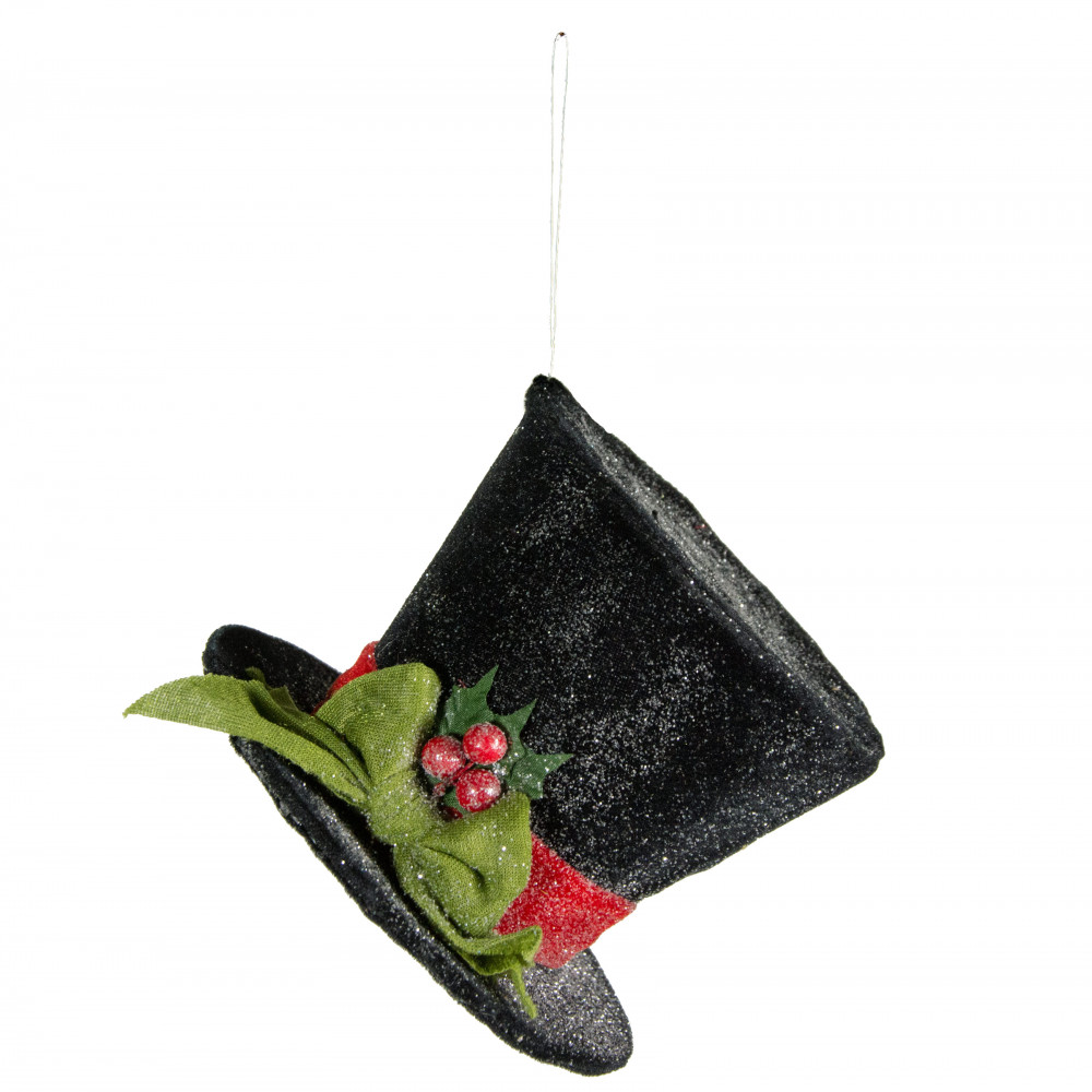 Christmas Top Hat Ornaments.4 Black Frosted Top Hat Ornament