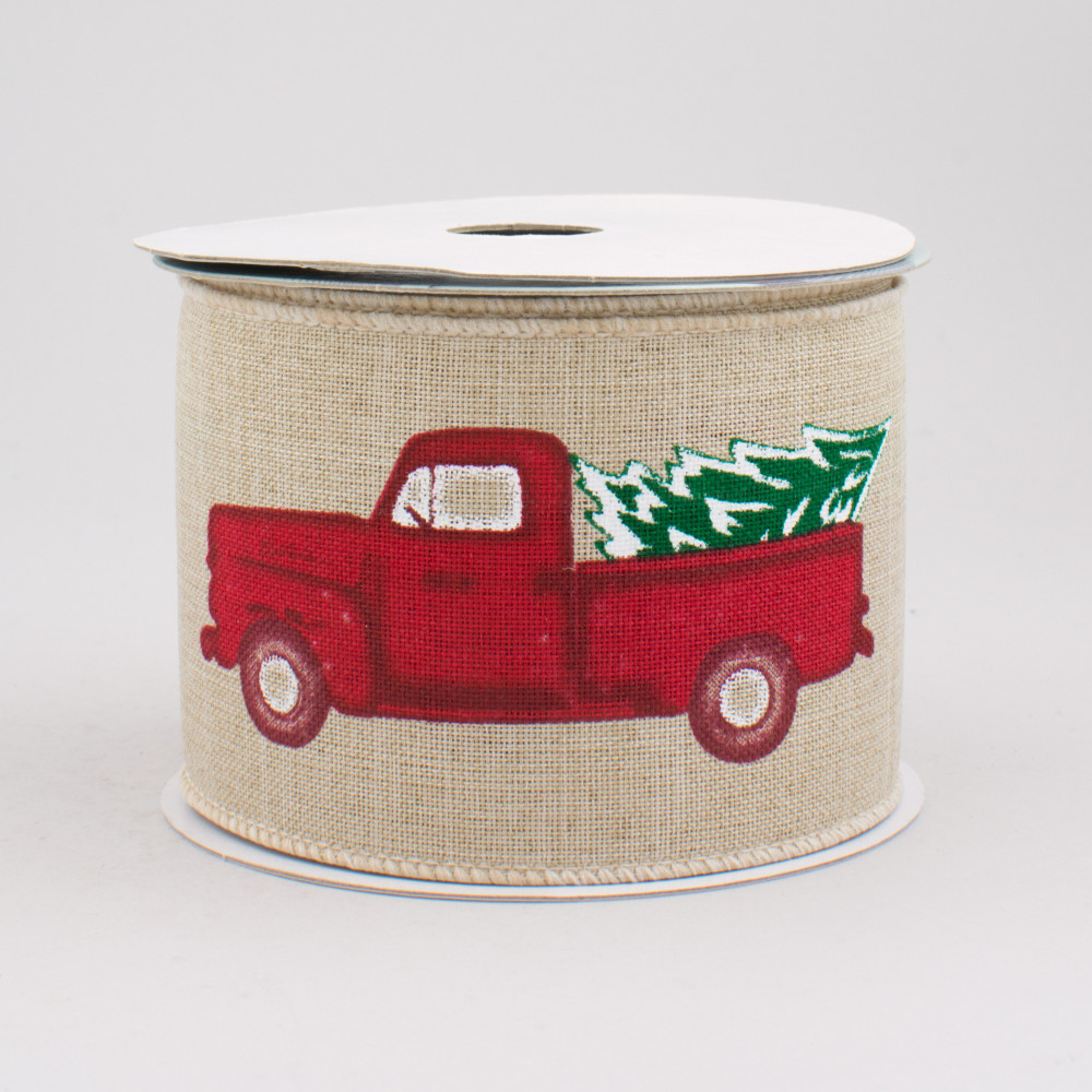 Vintage Red Truck Christmas Placemats.2 5 Vintage Truck With Tree Ribbon Light Natural 10 Yards