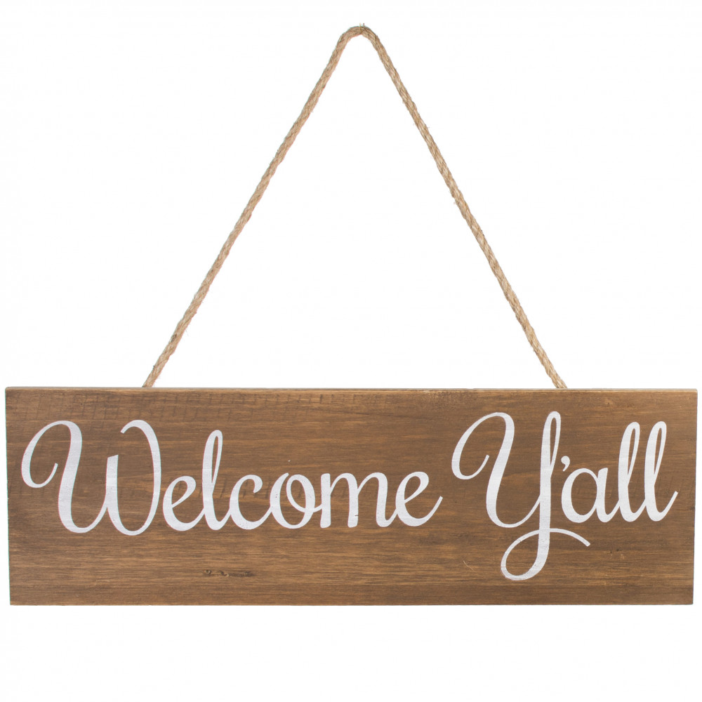 16 hanging wood sign welcome y 39 all ap0134. Black Bedroom Furniture Sets. Home Design Ideas