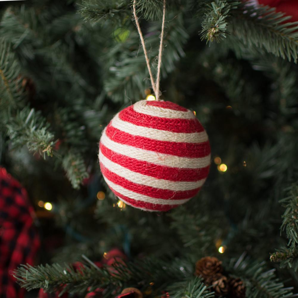 35 twine ball ornament red white stripe