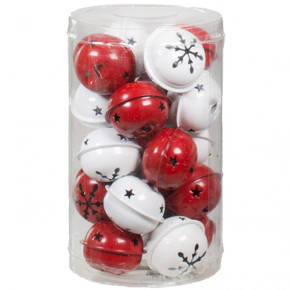 "1.5"" Jingle Bells: Red & White (Set Of 20) [M8001"