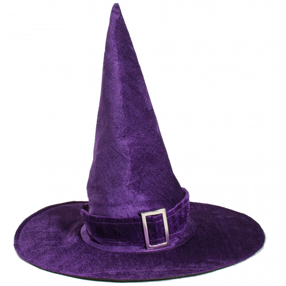 Kids Witch Hat Purple Color 17.5 Brim Diameter with Glitter Top and Cushioned Felt Point
