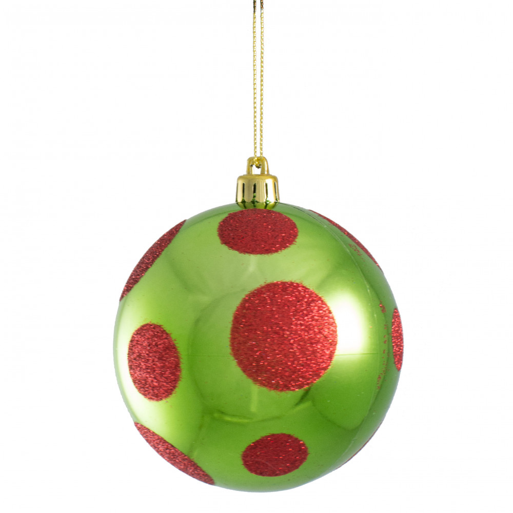 100mm Polka Dot Ornament Lime Green Red Xh952051 Craftoutlet Com