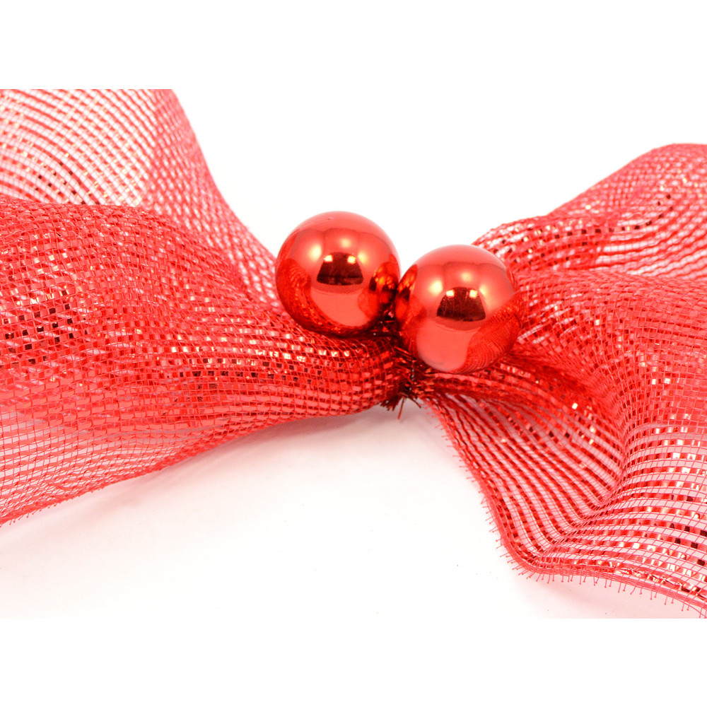 Quot red tinsel ties w mm balls set of