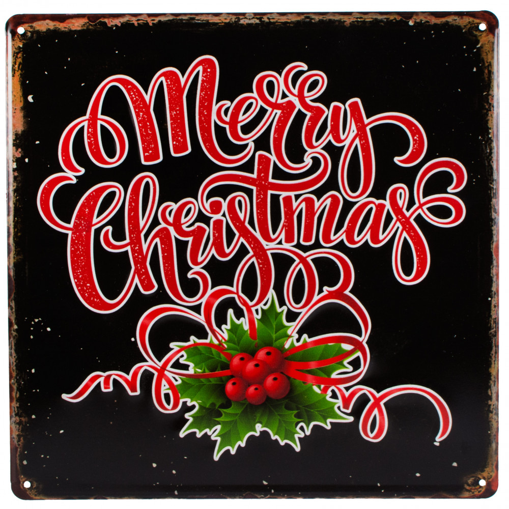 "12"" Tin Merry Christmas Sign: Black [XTM4011"