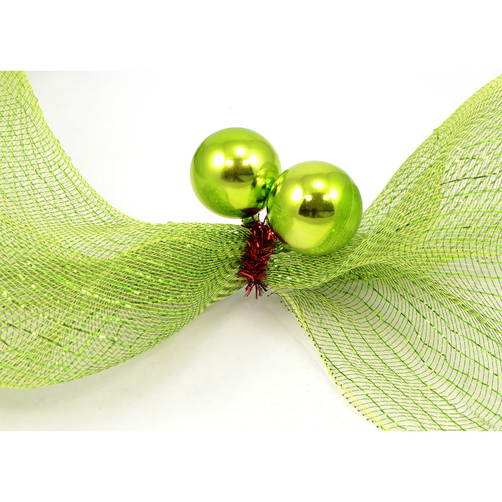 Quot red tinsel ties w mm balls lime green set of