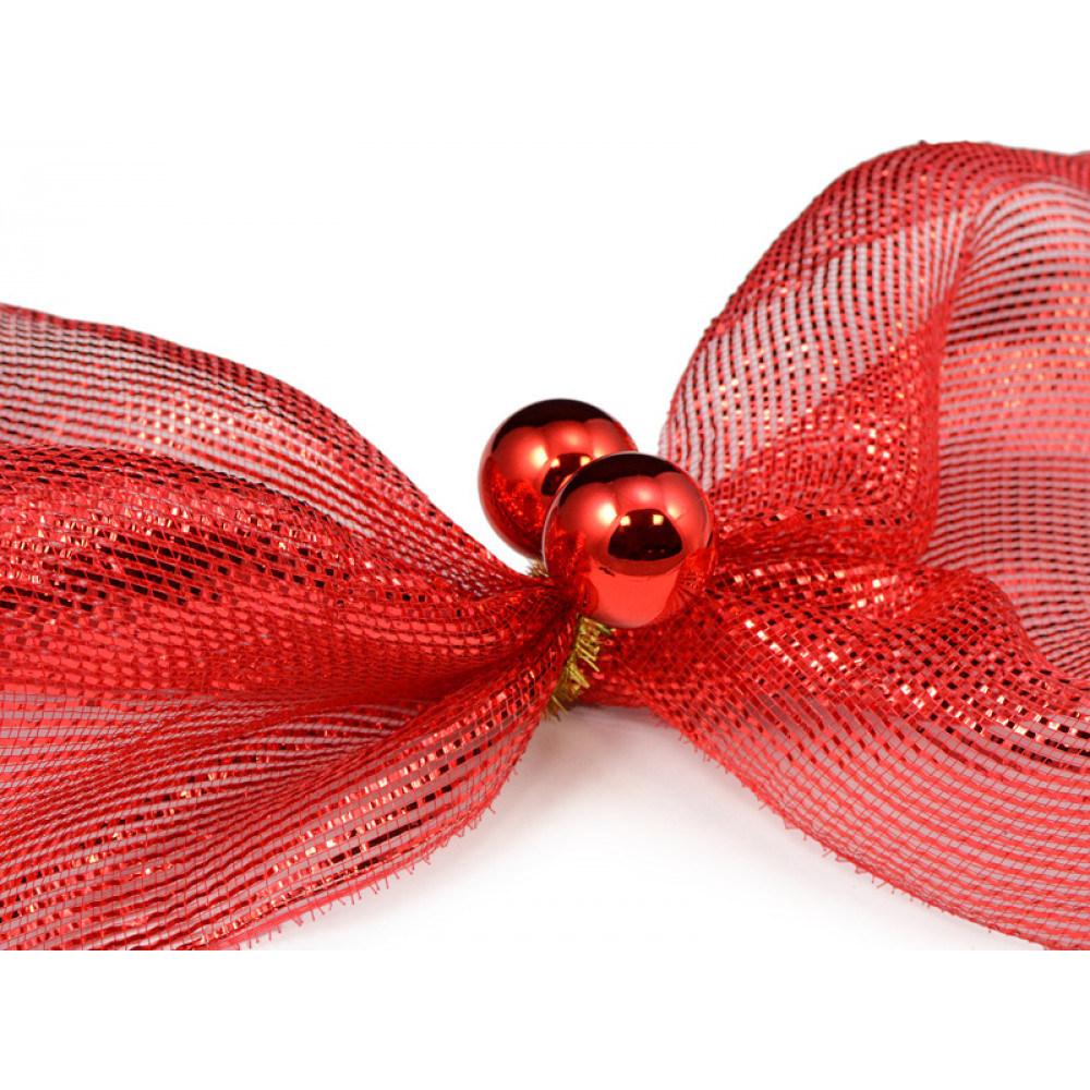 Quot gold tinsel ties w mm balls red set of