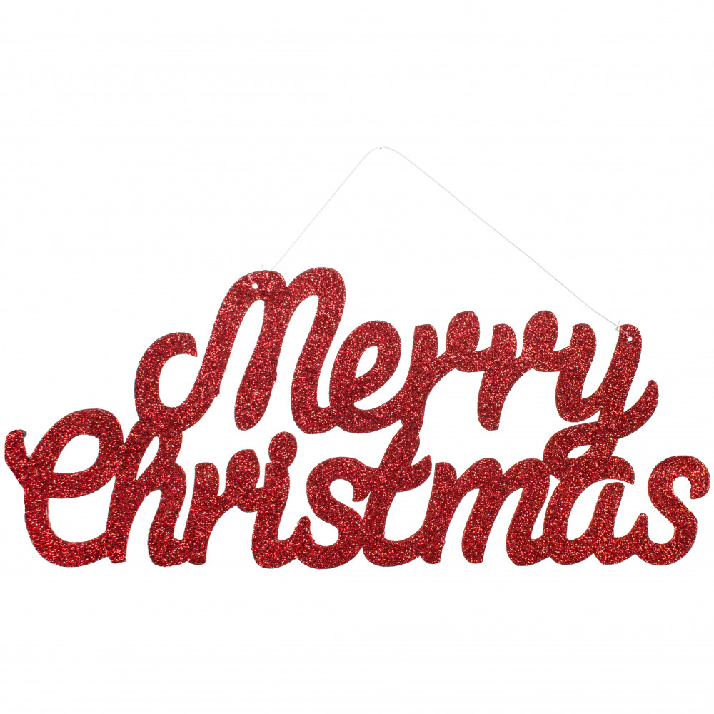 """14"""" Red Glitter Merry Christmas Sign [82412RD"""