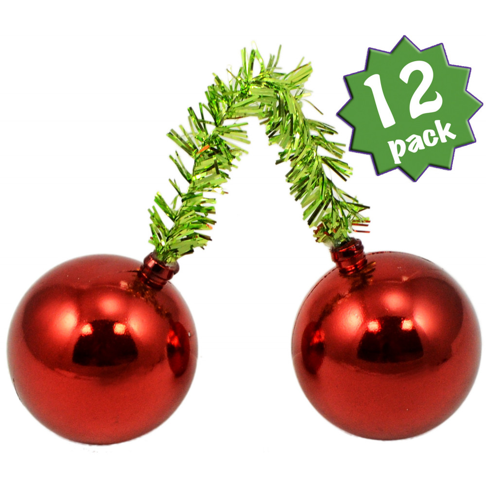 Quot lime tinsel ties w mm balls red set of