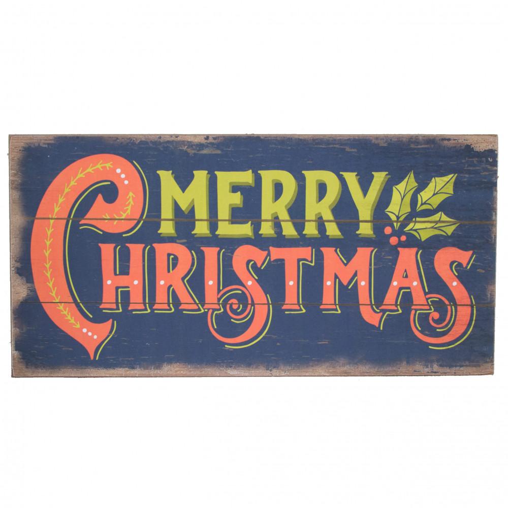 "16"" Wooden Merry Christmas Sign: Denim Blue [XWM6012"
