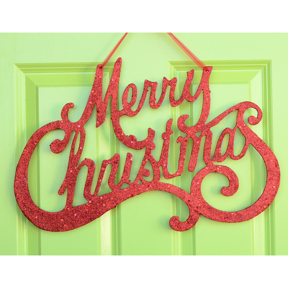 """Merry Christmas Red Glitter Sign: 20"""" [XY504624"""