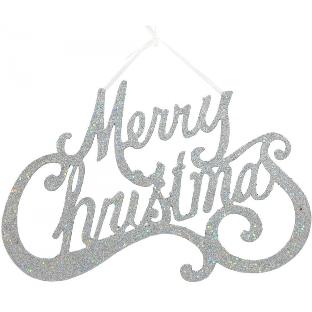"""Merry Christmas Silver Glitter Sign: 20"""" [XY504626"""