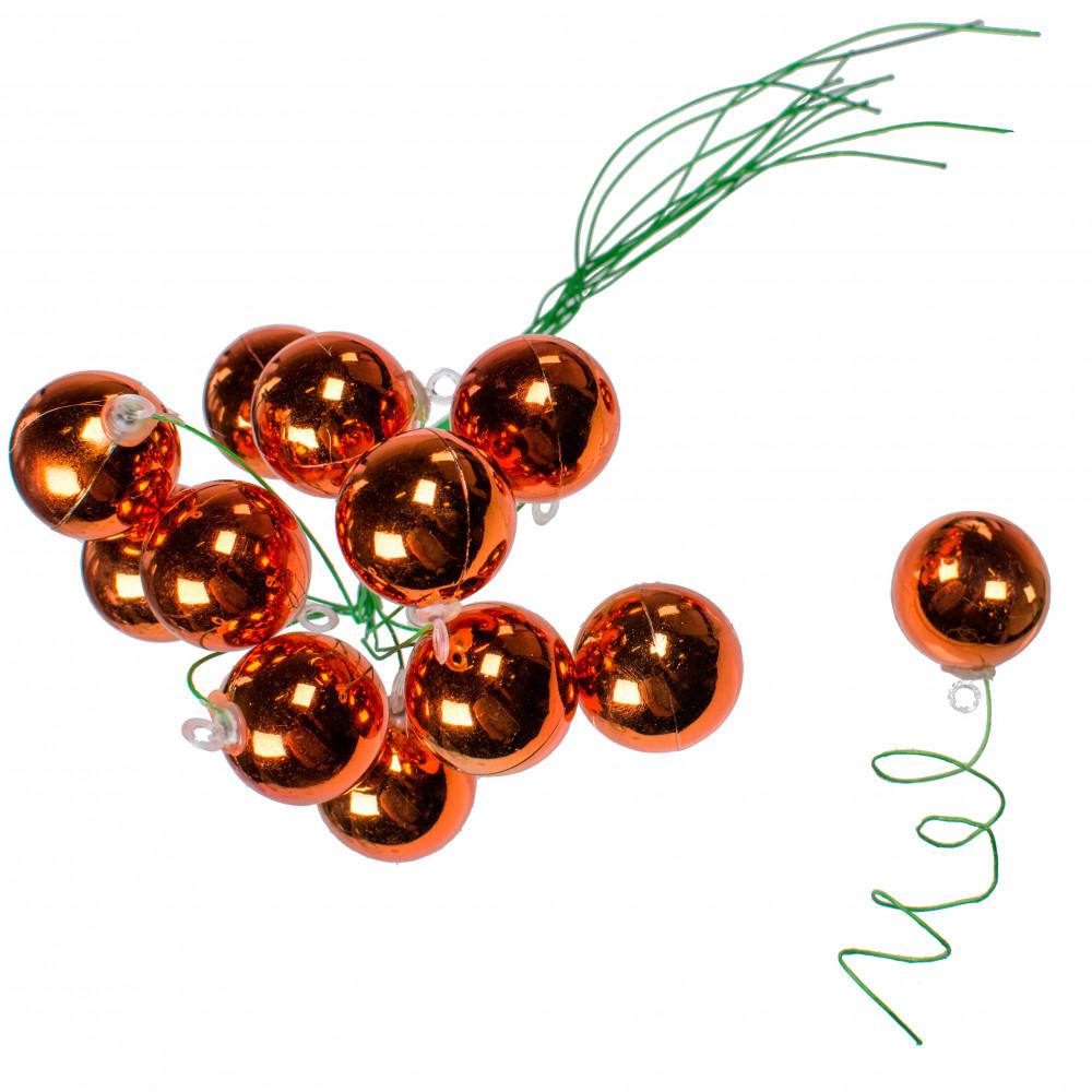 30MM Metallic Ball Ornament On Wire: Copper Orange (72) [XH821348 ...