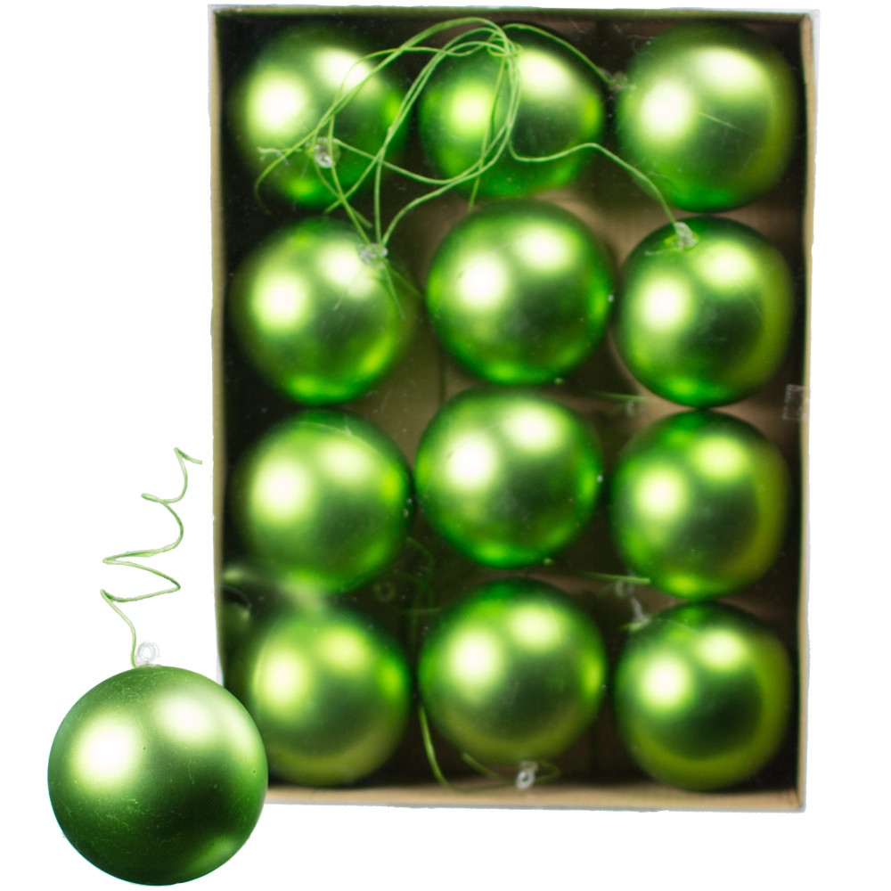 70MM Matte Ball Ornament On Wire: Lime Green (12) [XH831969 ...