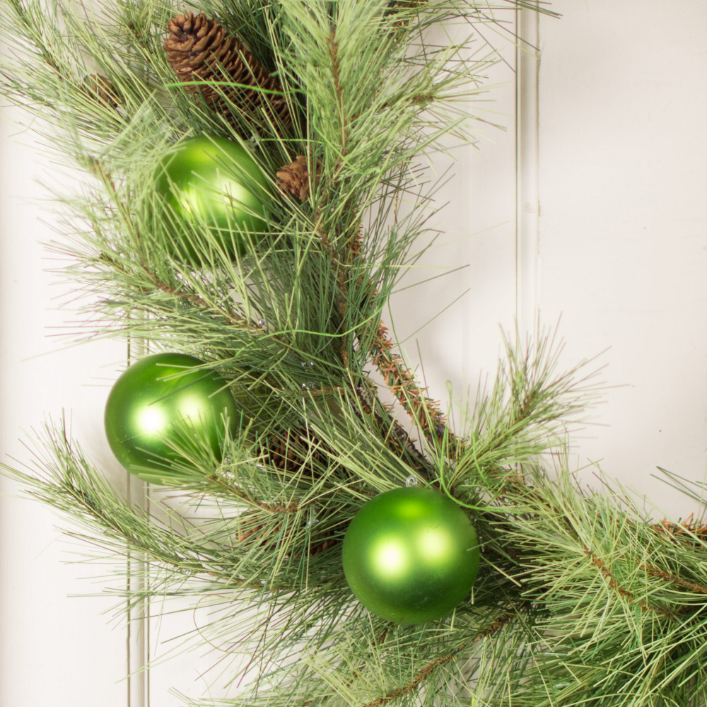 70MM Matte Ball Ornament On Wire: Lime Green (12)