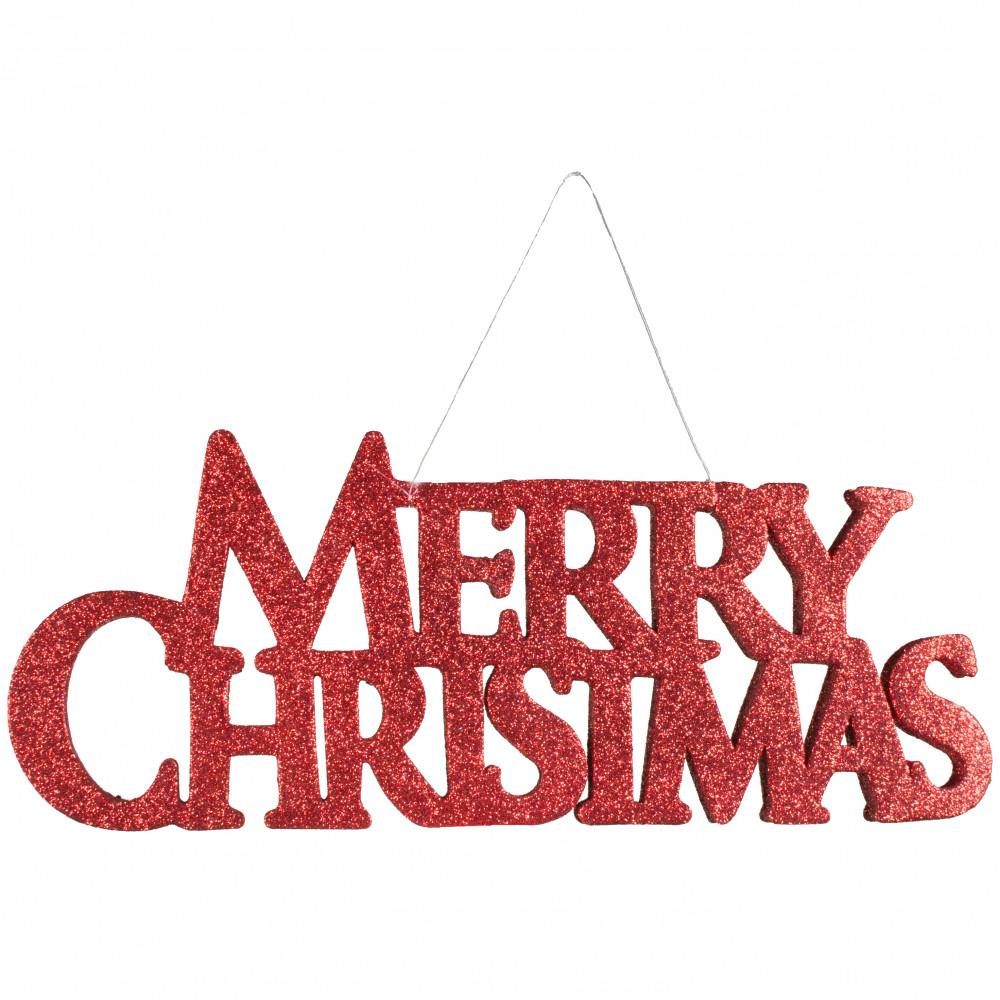 """13.5"""" Red Glitter Merry Christmas Sign [260704"""