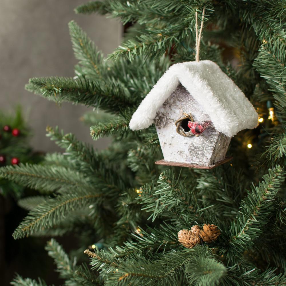 55 snowy birdhouse with bird ornament - Bird Ornaments For Christmas Tree