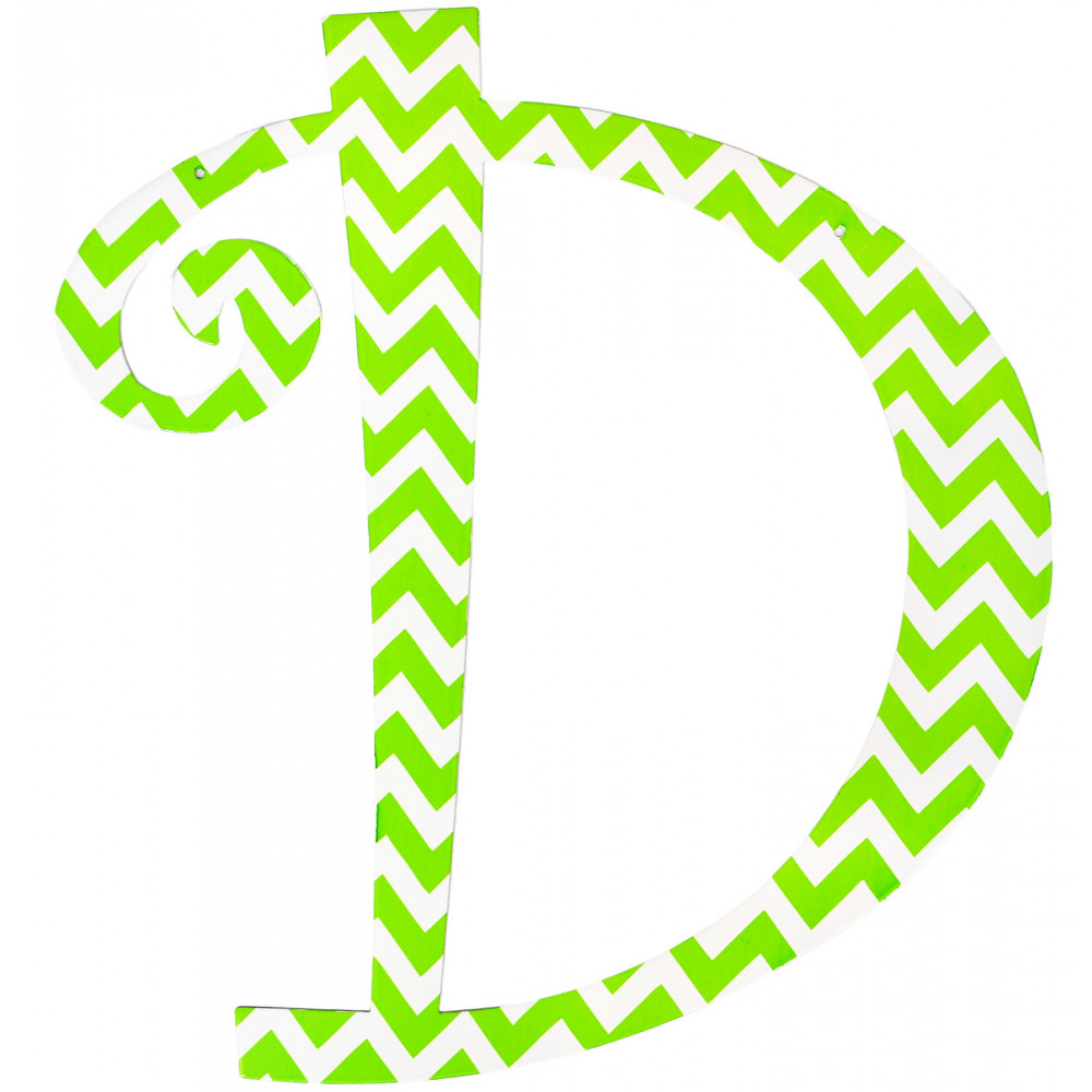 "14"" Lime Green Chevron Metal Letter: D [1757 ..."