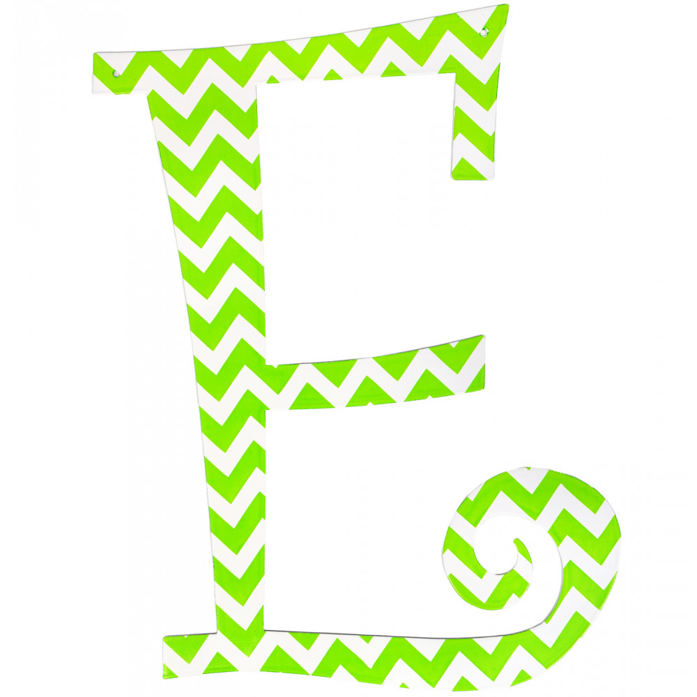 14 Quot Lime Green Chevron Metal Letter E 1758