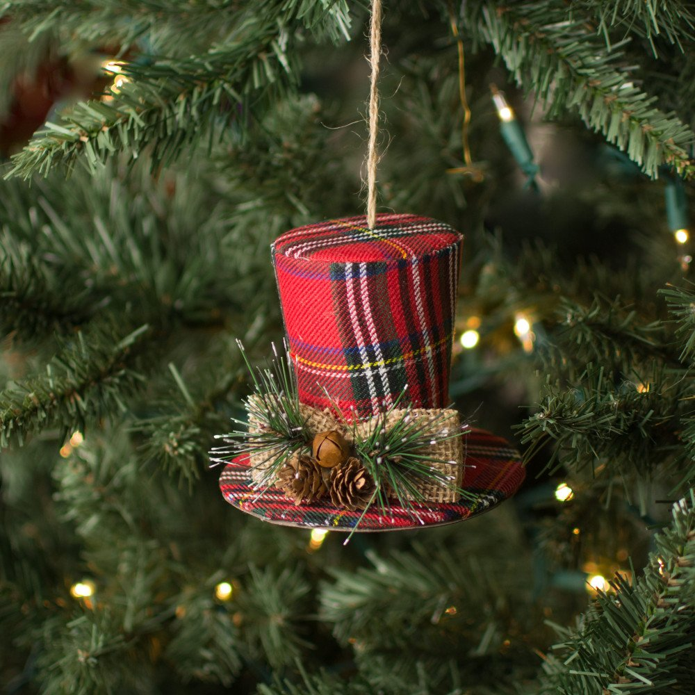 Christmas Top Hat Ornaments.4 5 Plaid Top Hat Ornament Red