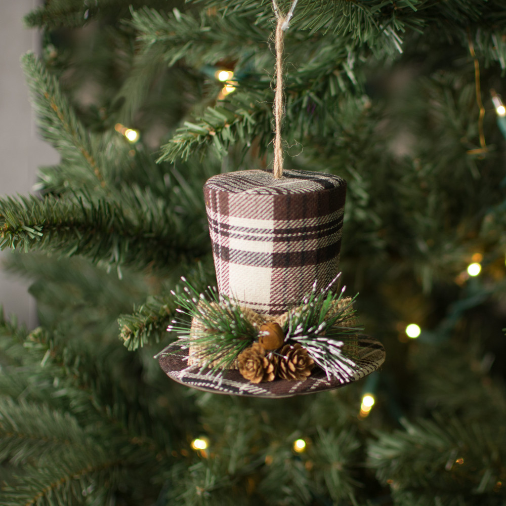 Christmas Top Hat Ornaments.4 5 Plaid Top Hat Ornament Brown
