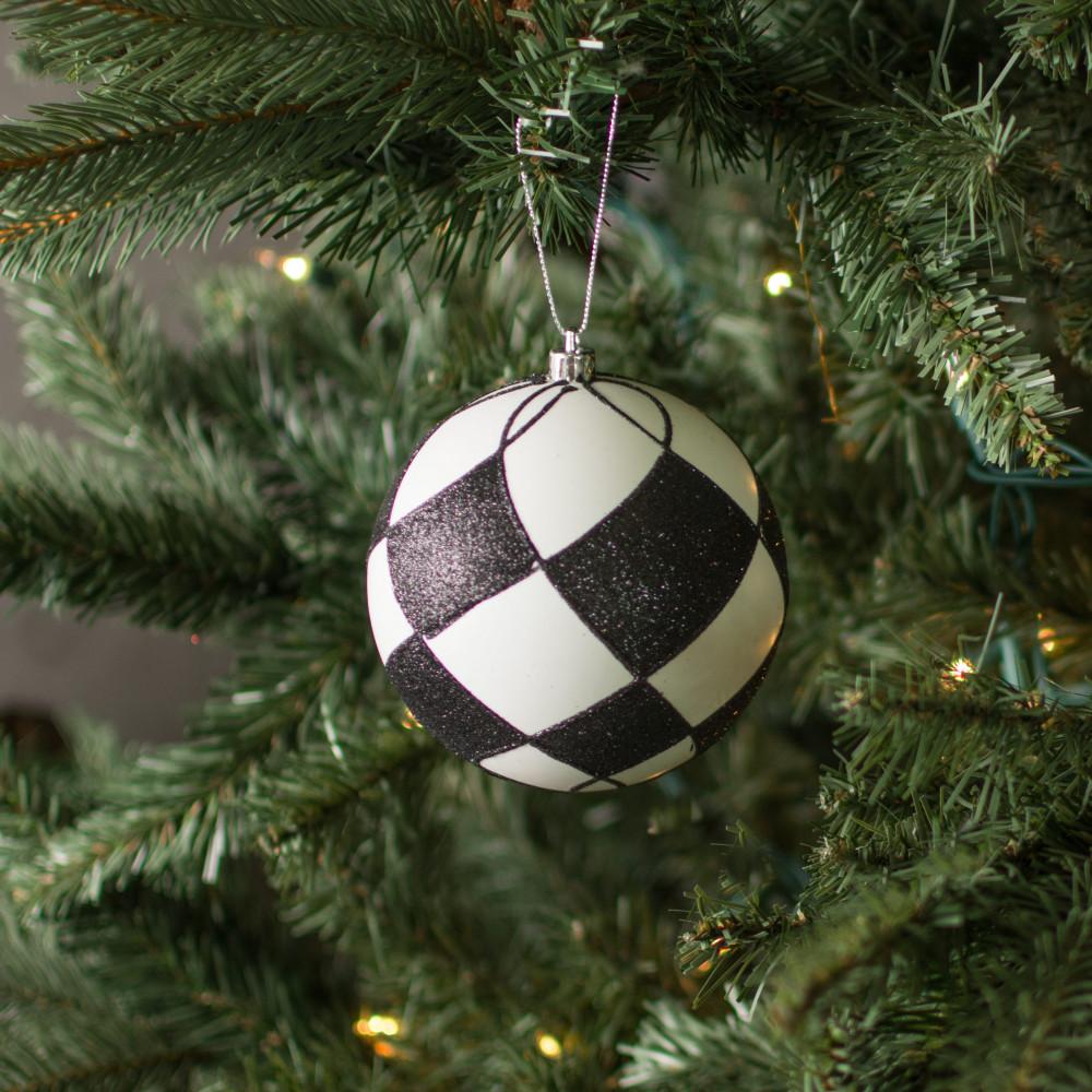 """4"""" Glitter Harlequin Ball Ornament: Black & White [83495BKWT] - CraftOutlet.com"""