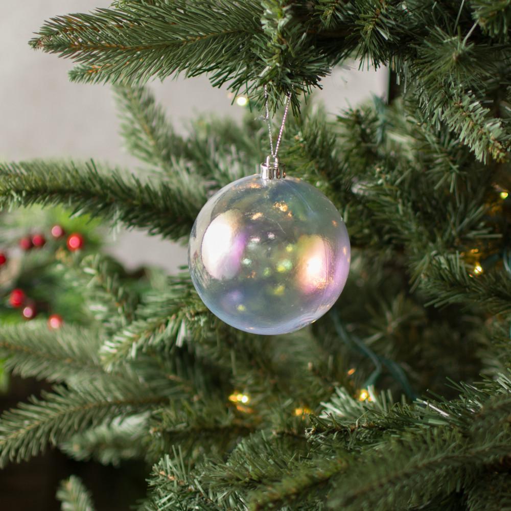 100mm plastic ball ornament clear iridescent set of 4
