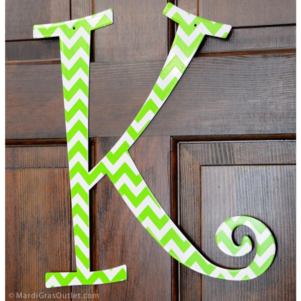 14 lime green chevron metal letter k 1763. Black Bedroom Furniture Sets. Home Design Ideas