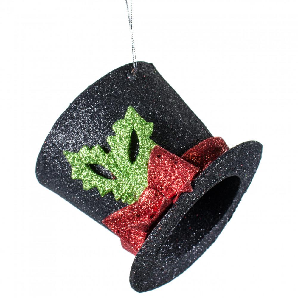 Christmas Top Hat Ornaments.5 Glitter Top Hat Ornament