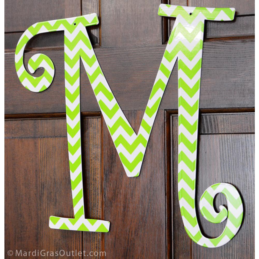 14 lime green chevron metal letter m 1765. Black Bedroom Furniture Sets. Home Design Ideas