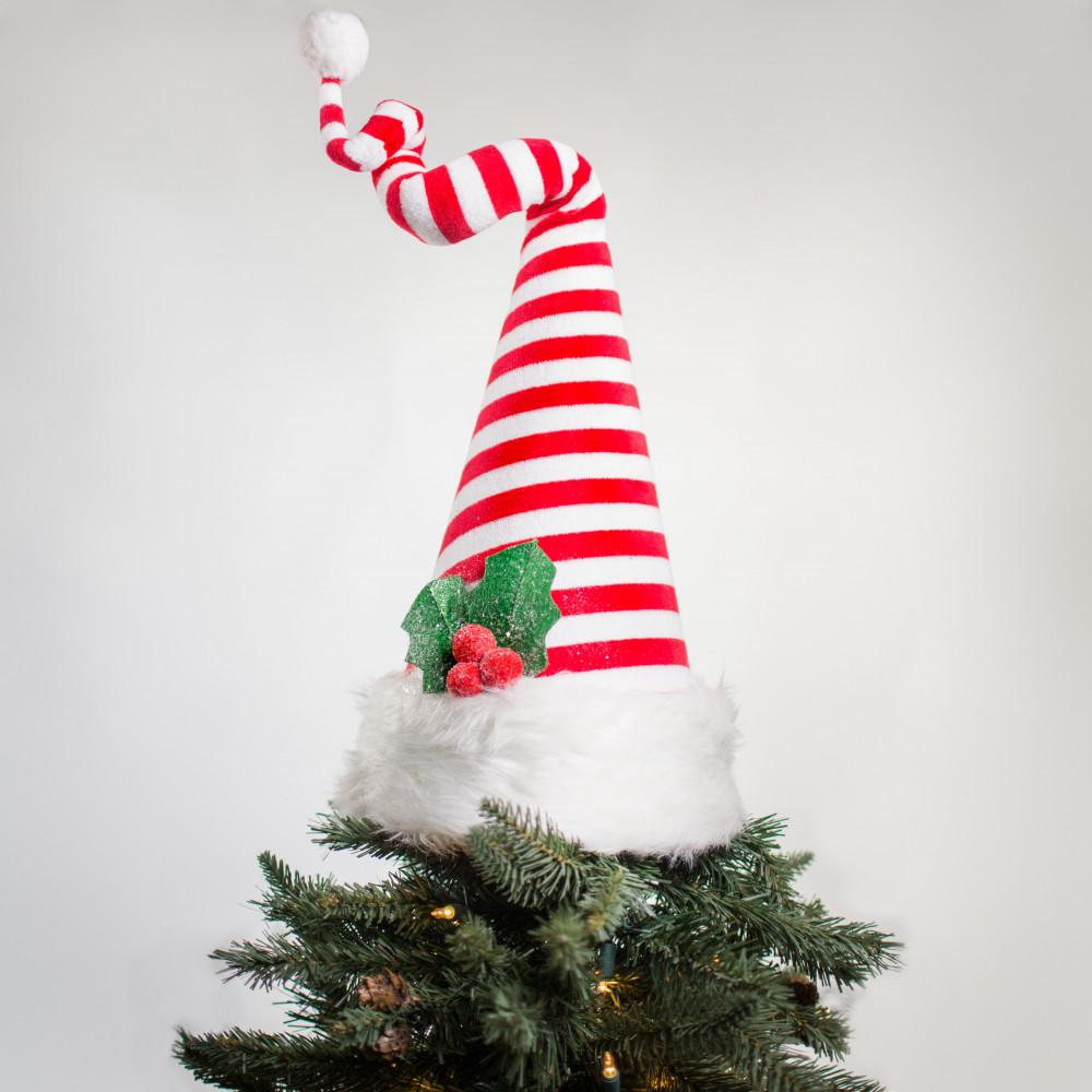 15 velvet santa hat tree topper red white - Santa Christmas Tree Topper