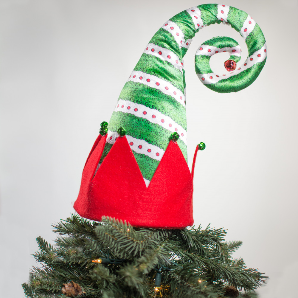 "Santa Hat Christmas Tree Topper: 19"" Everything Merry Elf Hat Tree Topper: Green [3716398G"