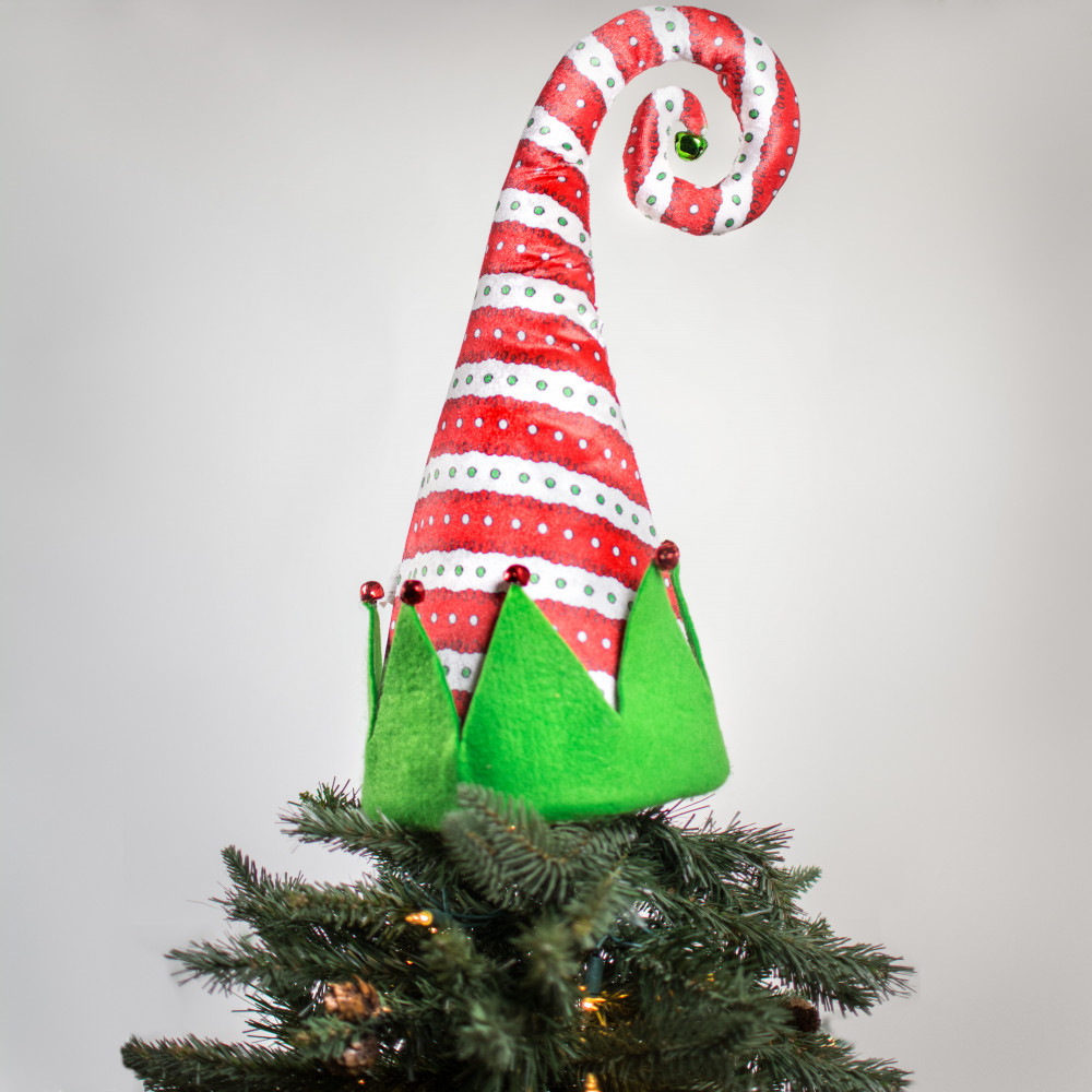"Santa Hat Christmas Tree Topper: 19"" Everything Merry Elf Hat Tree Topper: Red [3716398R"
