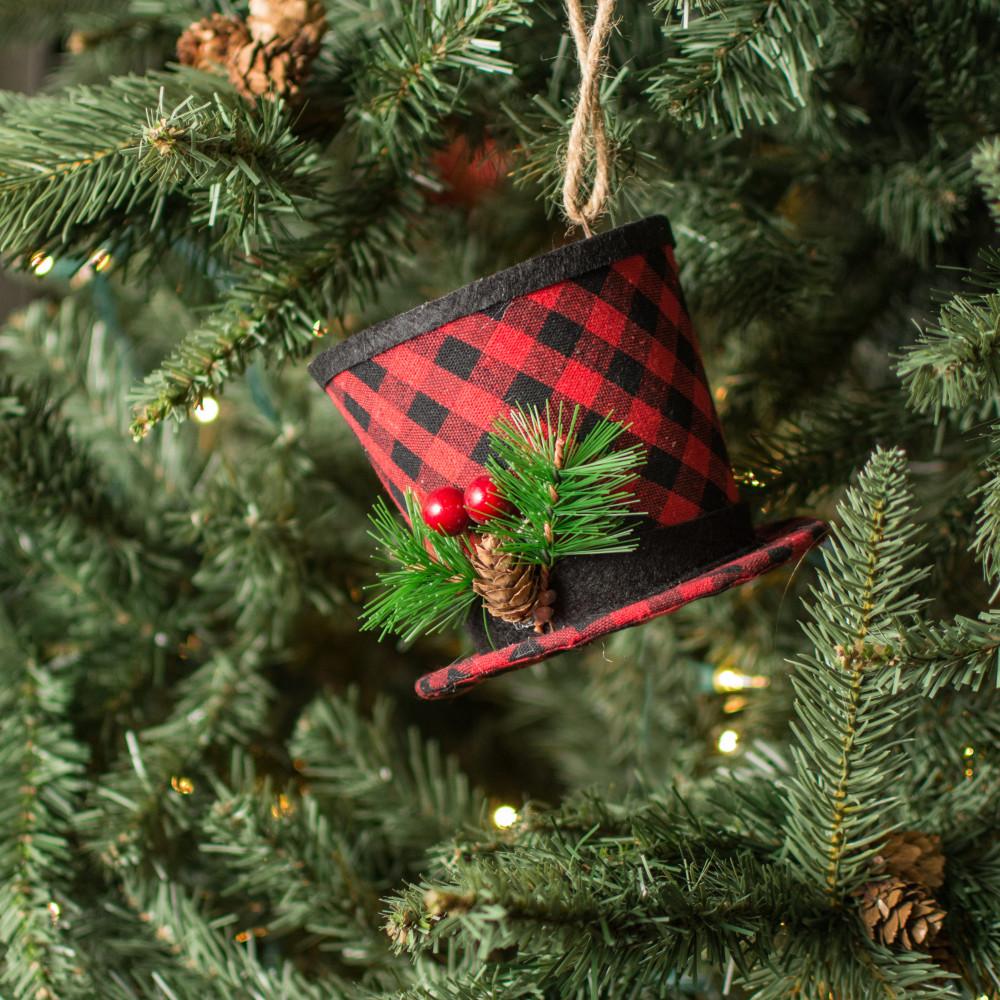"5"" Buffalo Plaid Top Hat Ornament"
