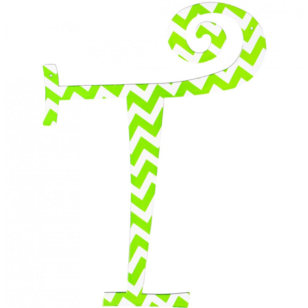 14quot lime green chevron metal letter t 1770