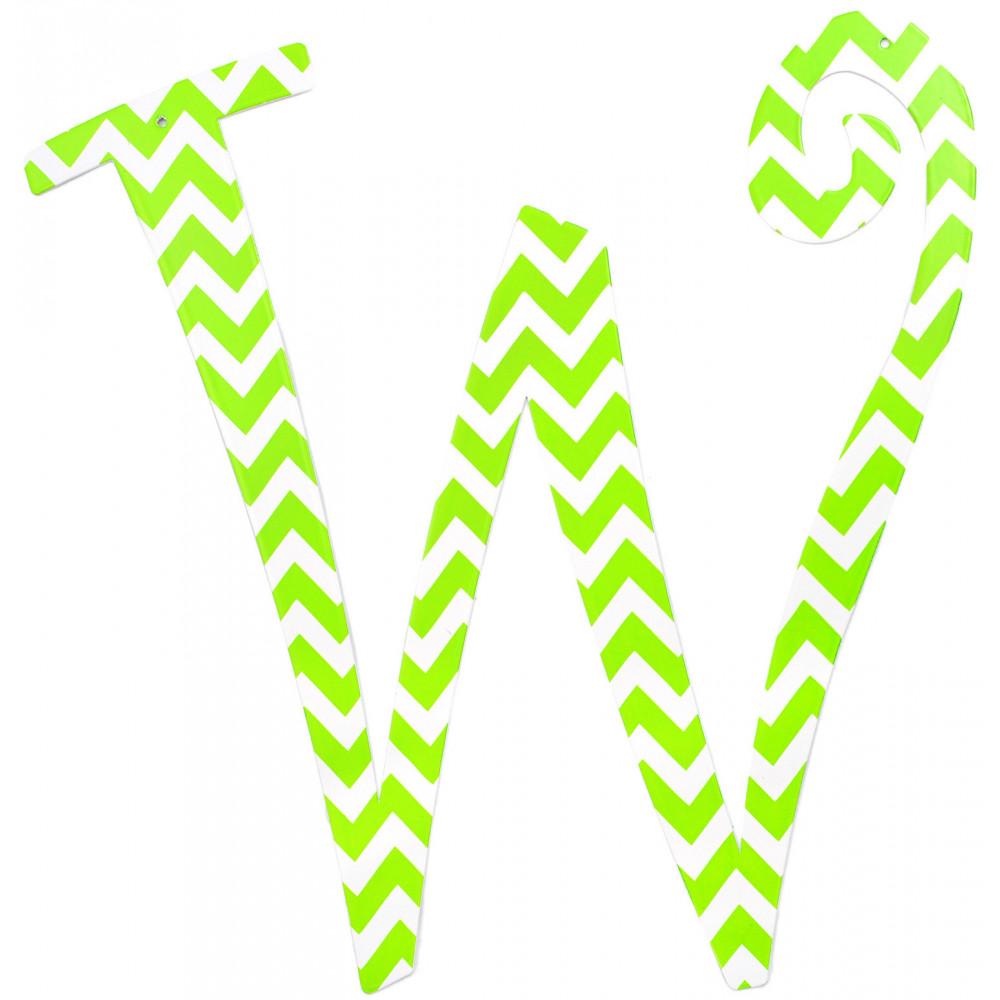 """14"""" Lime Green Chevron Metal Letter: W [1771 ..."""