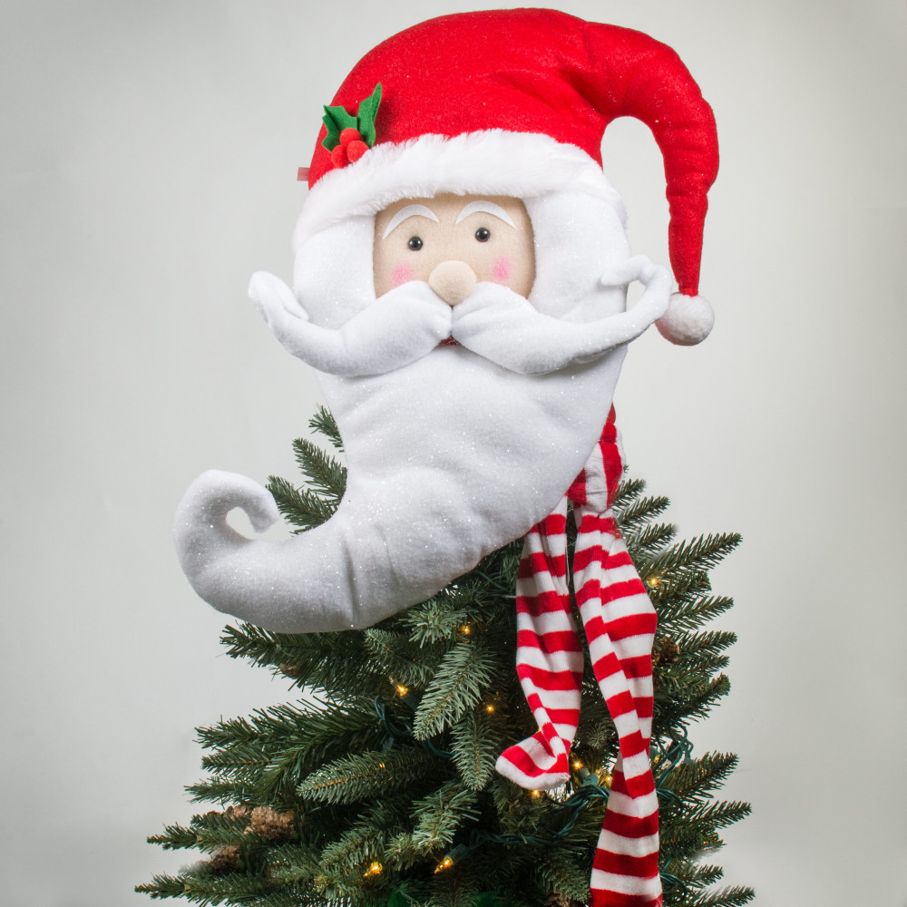 "Santa Hat Christmas Tree Topper: 17"" Santa Head Tree Topper [3716396]"
