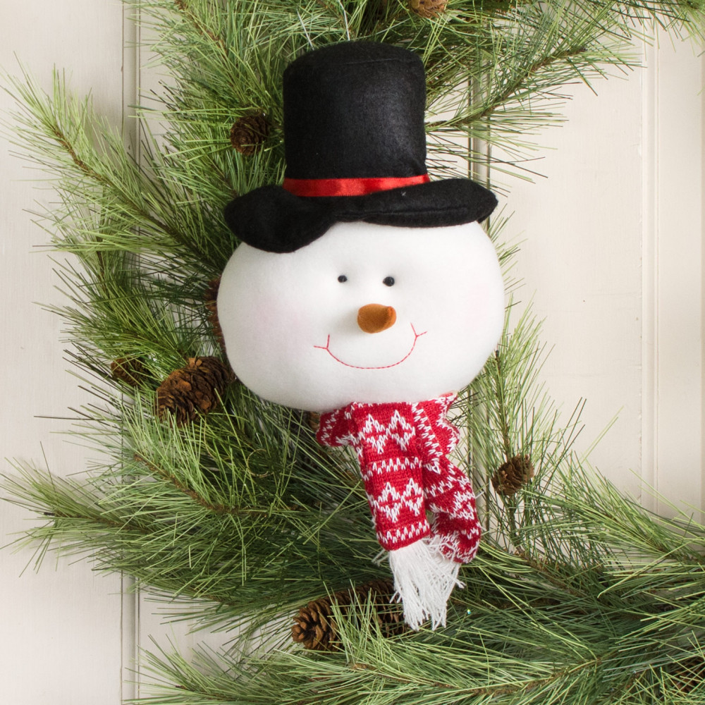 8 u0026quot  plush snowman face ornament  81983a