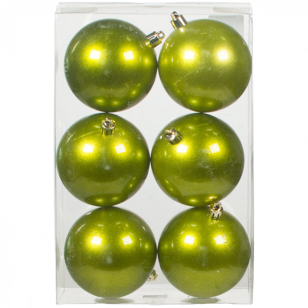 80mm shatterproof ball ornament apple green set of 6