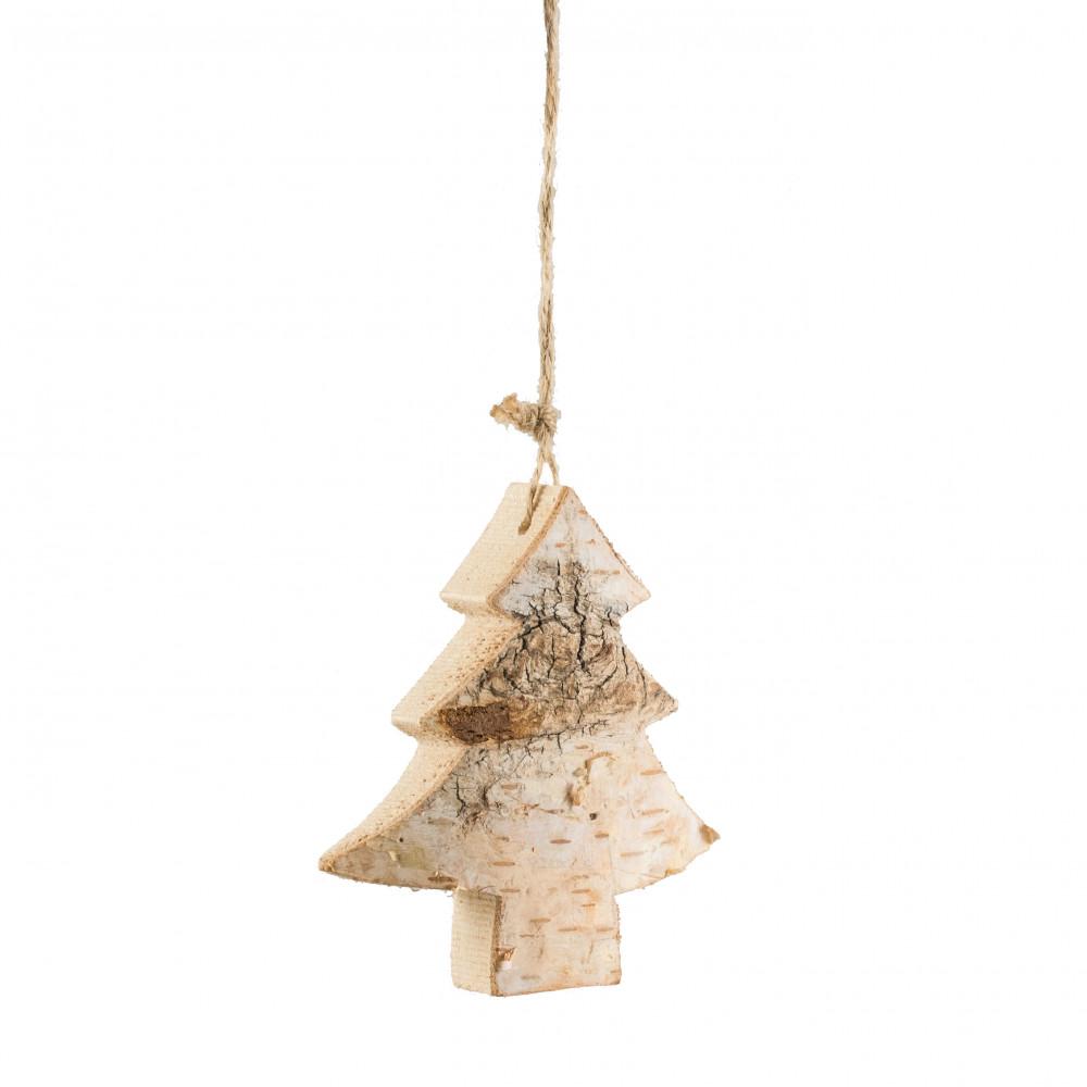4 carved birch christmas ornament tree