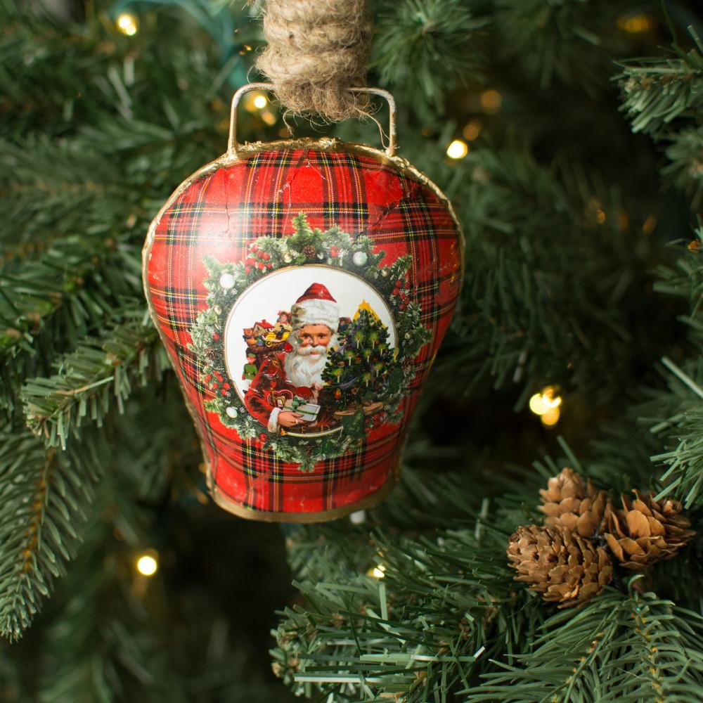 Quot vintage christmas bell ornament gift santa xt a