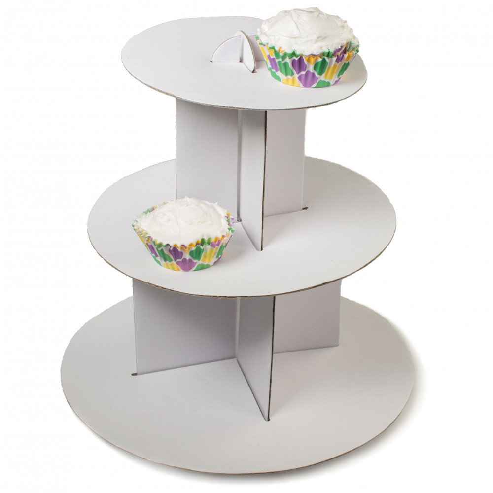 Cardboard Cupcake Stand: 3 Tier [7016-WH] - CraftOutlet.com